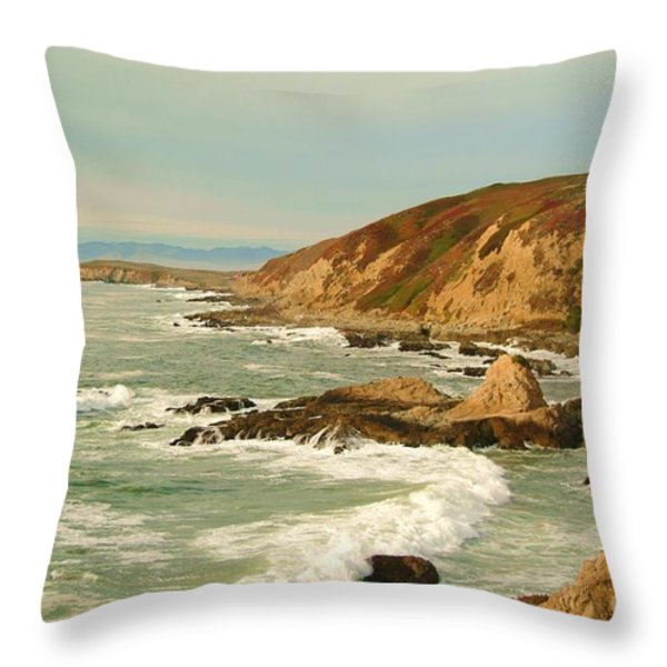 Bodega Bay coastline  one Throw Pillow by Alberta Brown Buller