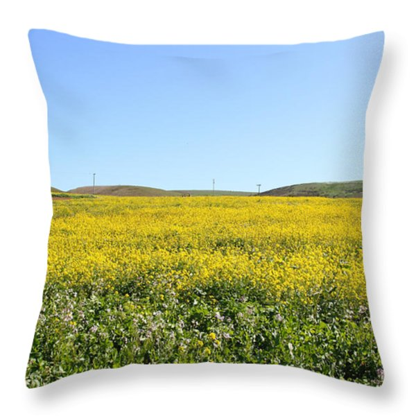 Bodega Bay . Yellow Field . 7D12403 Throw Pillow by Wingsdomain Art and Photography