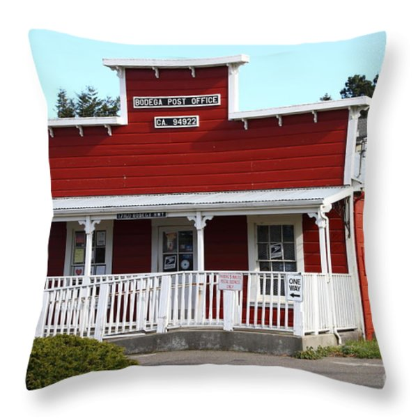 Bodega Post Office . Bodega Bay . Town Of Bodega . California . 7d12455 Throw Pillow by Wingsdomain Art and Photography