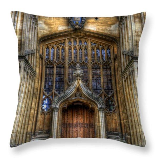Bodleian Library Door - Oxford Throw Pillow by Yhun Suarez
