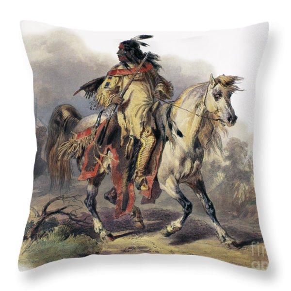 Bodmer: Blackfoot Horseman Throw Pillow by Granger