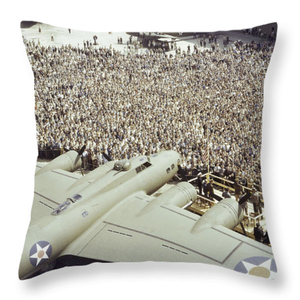 Boeing Workers Gather To Hear A Pilot Throw Pillow by J. Baylor Roberts