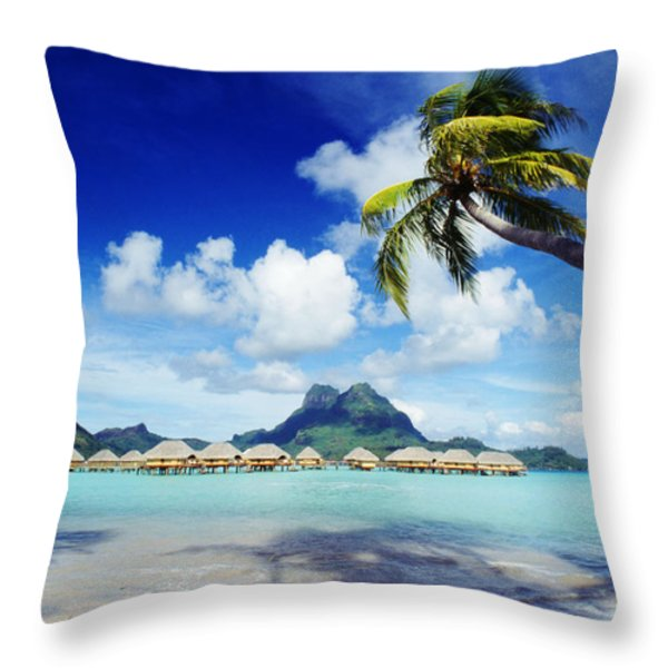 Bora Bora, Lagoon Resort Throw Pillow by Himani - Printscapes