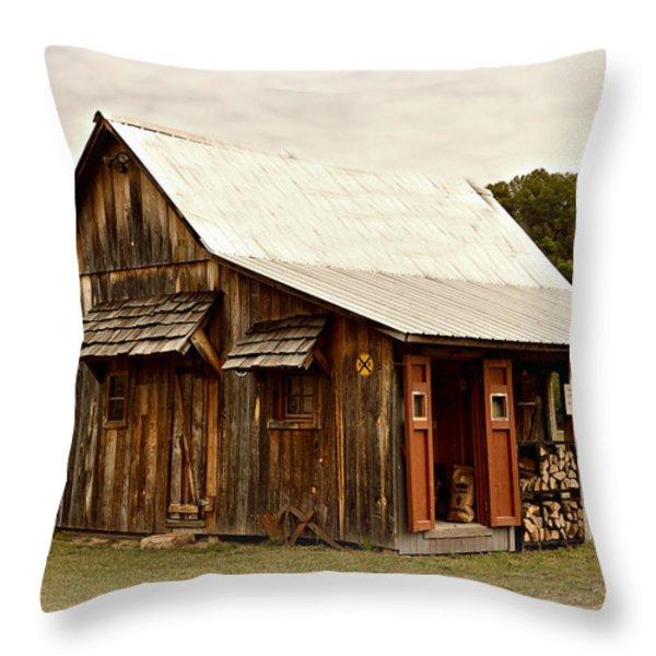 Bo's Shack Throw Pillow by Marty Koch