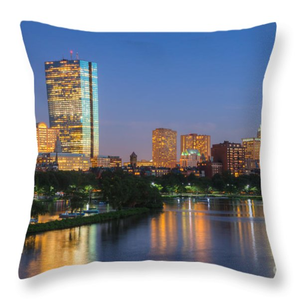 Boston Night Skyline II Throw Pillow by Clarence Holmes
