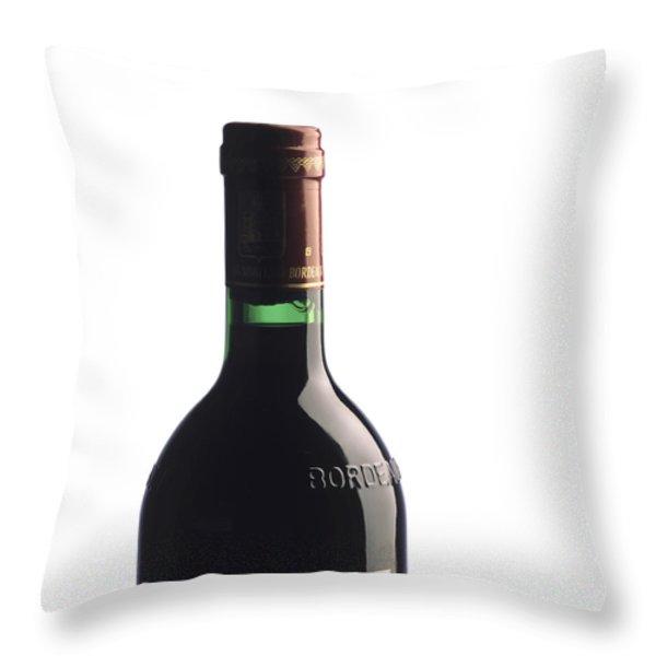 Bottle Of French Wine Throw Pillow by Bernard Jaubert