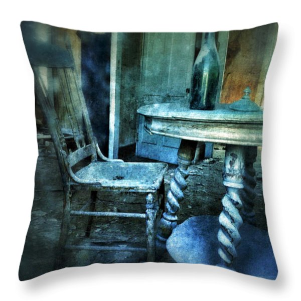 Bottle On Table In Abandoned House Throw Pillow by Jill Battaglia