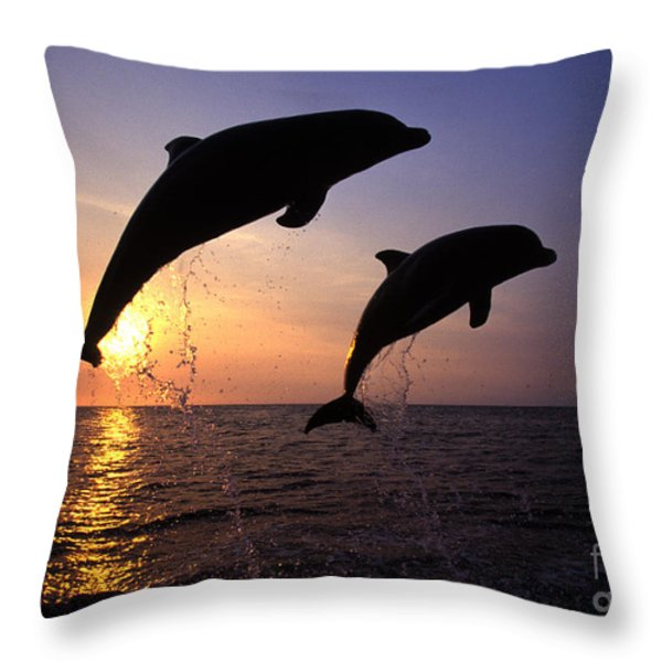 Bottlenose Dolphins Throw Pillow by Francois Gohier and Photo Researchers