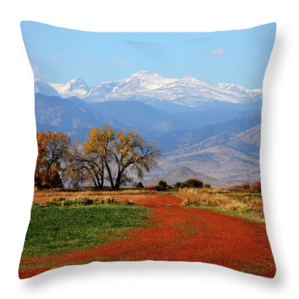 Boulder County Colorado Landscape Red Road Autumn View Throw Pillow by James BO  Insogna