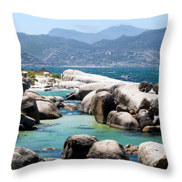 Boulders Beach Throw Pillow by Fabrizio Troiani