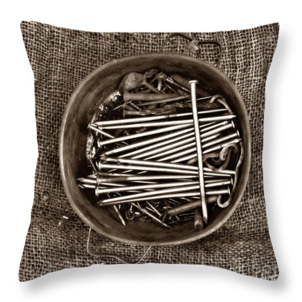 Box of tacks Throw Pillow by BERNARD JAUBERT