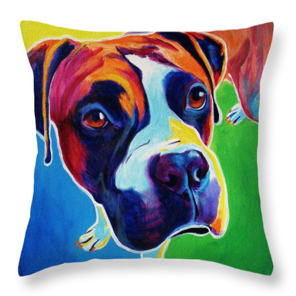 Boxer - Leo Throw Pillow by Alicia VanNoy Call