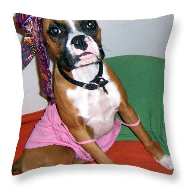 Boxer Girl Throw Pillow by Tisha McGee