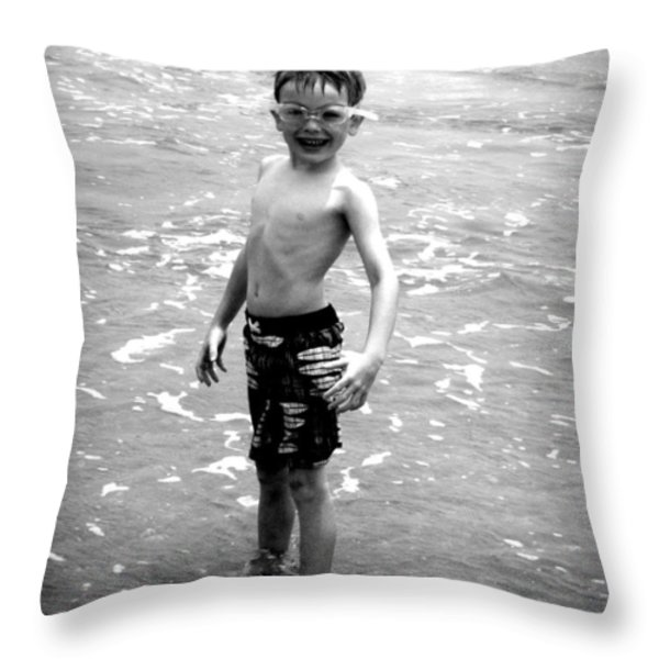 Boy at the Ocean 2 Throw Pillow by Kelly Hazel