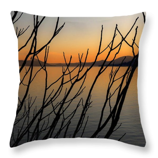branches in the sunset Throw Pillow by Joana Kruse