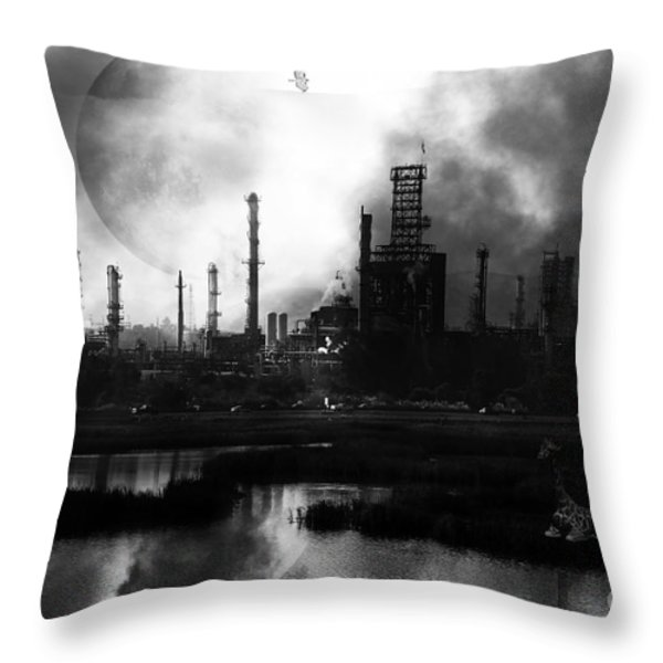 Brave New World - Version 2 - Black and White - 7D10358 Throw Pillow by Wingsdomain Art and Photography