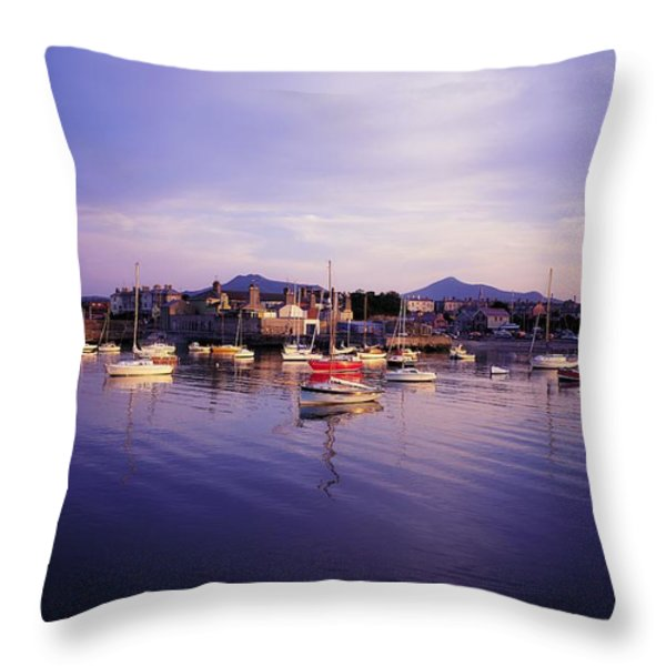 Bray Harbour, Co Wicklow, Ireland Throw Pillow by The Irish Image Collection