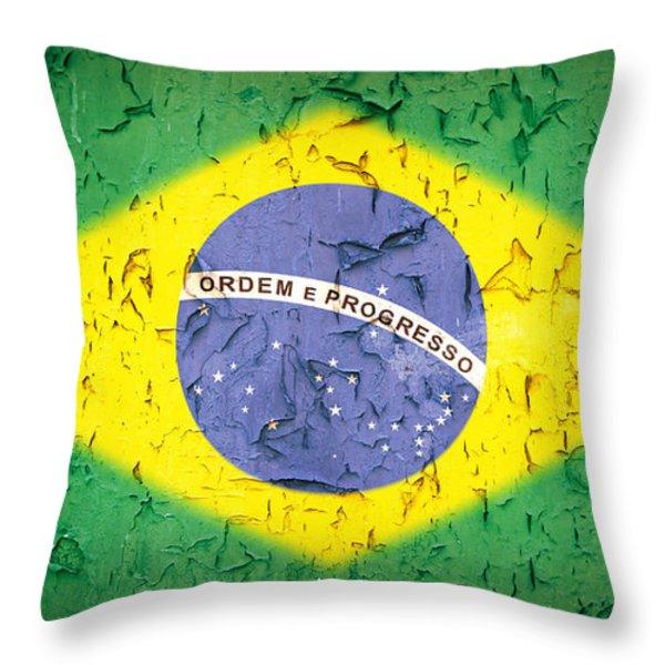 Brazil Flag Vintage Throw Pillow by Jane Rix