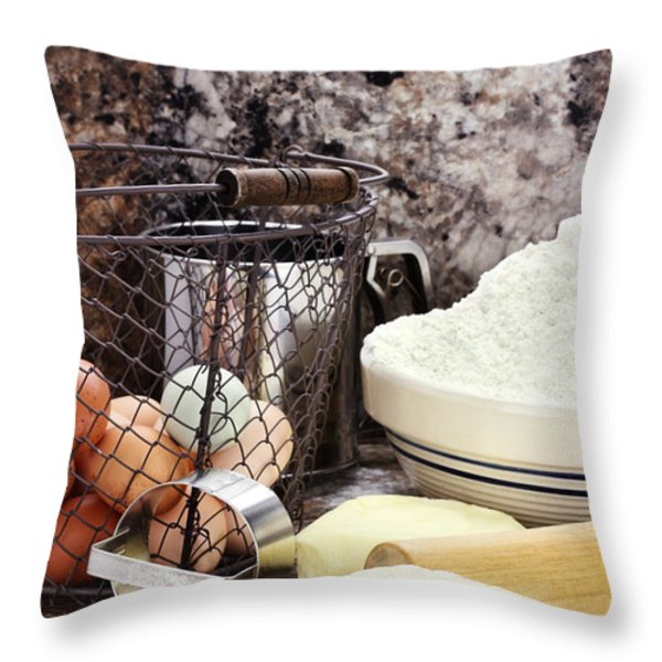 Bread Making Throw Pillow by Stephanie Frey
