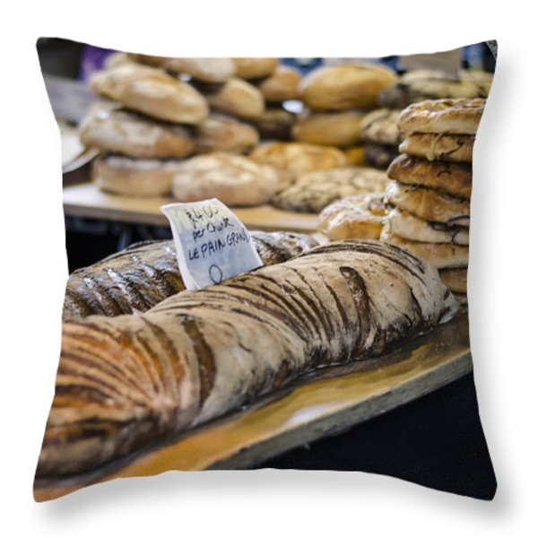 Bread Market Throw Pillow by Heather Applegate