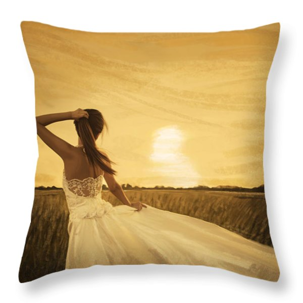 bride in yellow field on sunset  Throw Pillow by Setsiri Silapasuwanchai
