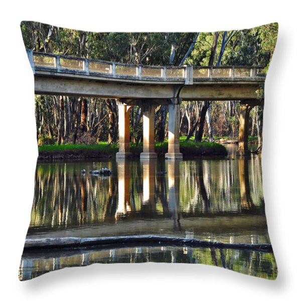 Bridge over Ovens River 2 Throw Pillow by Kaye Menner