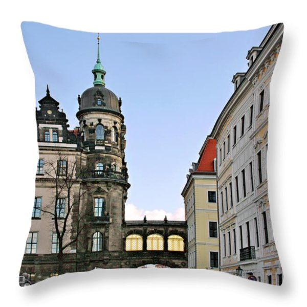 Bridge Over Taschenberg Street Dresden Throw Pillow by Christine Till