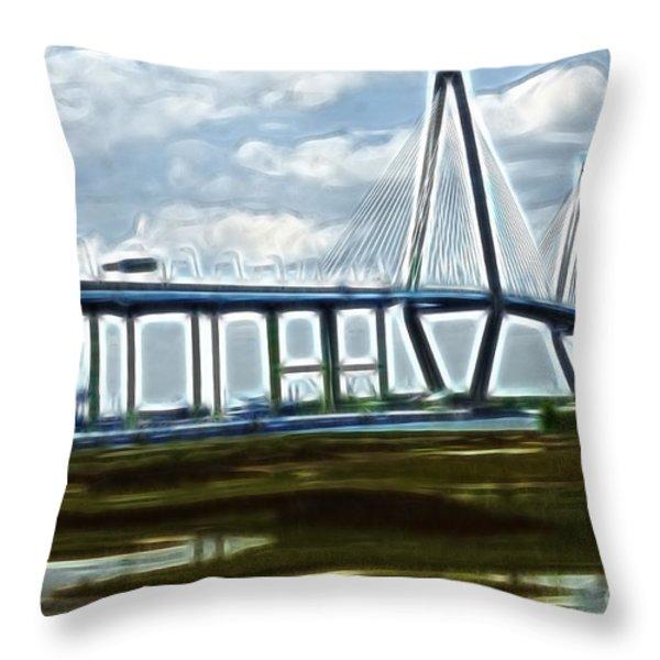 Bridge To Charleston Throw Pillow by Darleen Stry