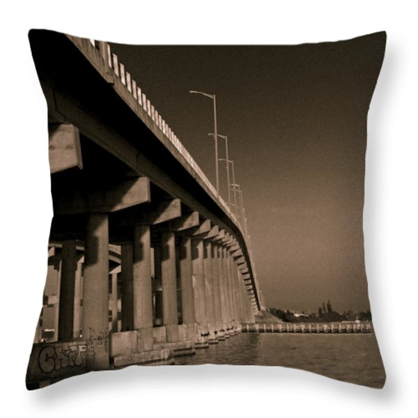 Bridge To The Moon Throw Pillow by Roger Wedegis