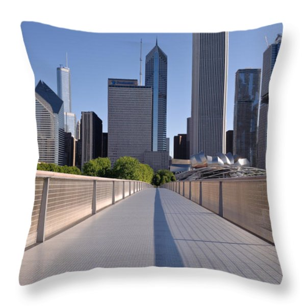 Bridgeway To Chicago Throw Pillow by Steve Gadomski