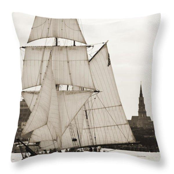 Brigantine Tallship Fritha Sailing Charleston Harbor Throw Pillow by Dustin K Ryan