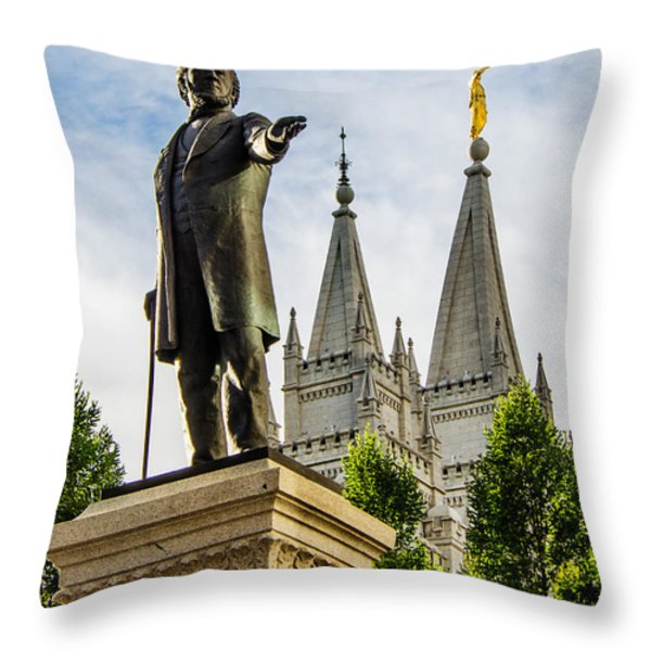 Brigham's Slc Temple Throw Pillow by La Rae  Roberts