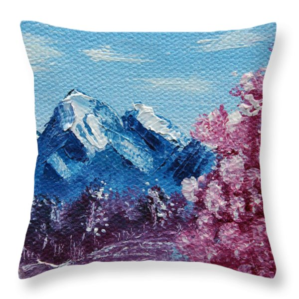 Bright Blue Mountains Throw Pillow by Jera Sky