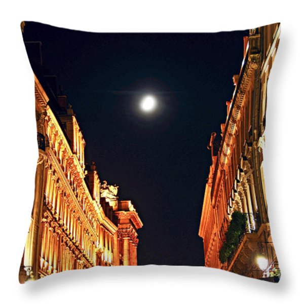 Bright moon in Paris Throw Pillow by Elena Elisseeva