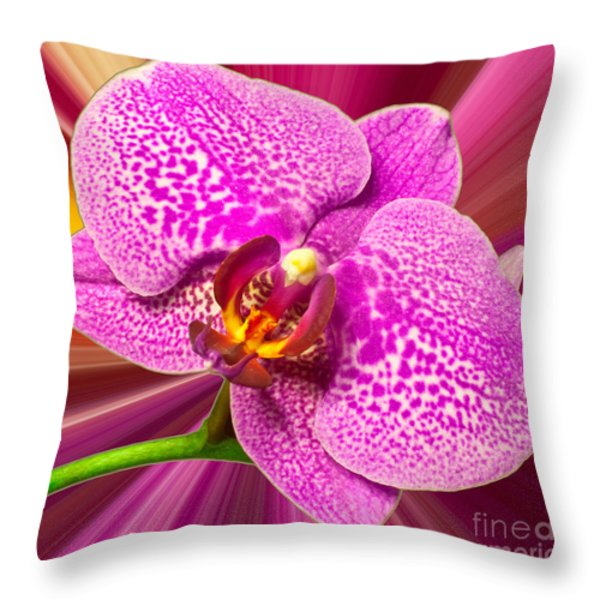 Bright Orchid Throw Pillow by Michael Waters