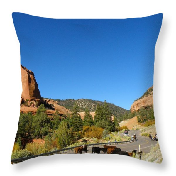 Bringing The Herd Down Throw Pillow by Feva  Fotos