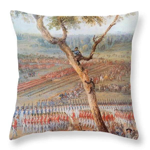 British Troops Surrender At Yorktown Throw Pillow by Photo Researchers