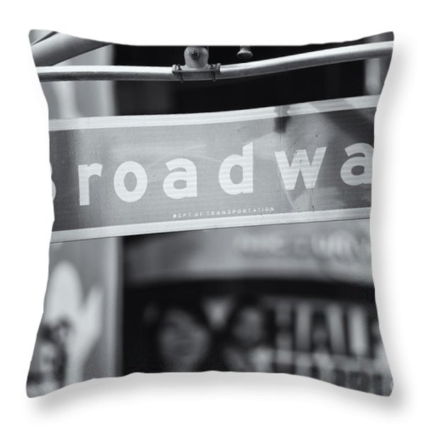 Broadway Street Sign II Throw Pillow by Clarence Holmes