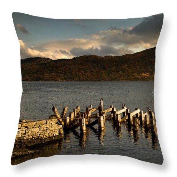 Broken Dock, Loch Sunart, Scotland Throw Pillow by John Short