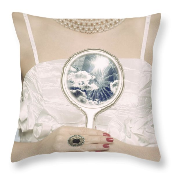Broken Handmirror Throw Pillow by Joana Kruse