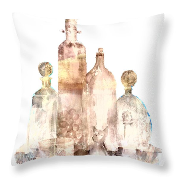 Bronzed Bottles Throw Pillow by Arline Wagner