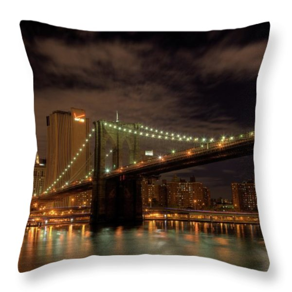 Brooklyn Bridge at Dusk Throw Pillow by Shawn Everhart