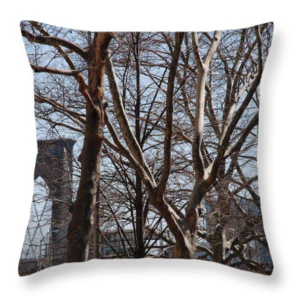 Brooklyn Bridge Thru The Trees Throw Pillow by Rob Hans