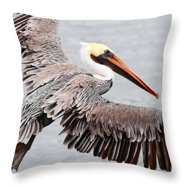 Brown Pelican . 7d8234 Throw Pillow by Wingsdomain Art and Photography