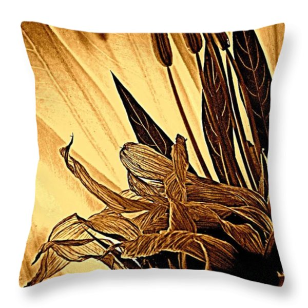 Brown Wildflowers Throw Pillow by Chris Berry