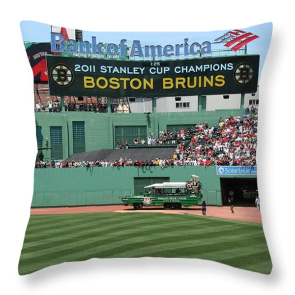 Bruins At Fenway Throw Pillow by Stephen Melcher