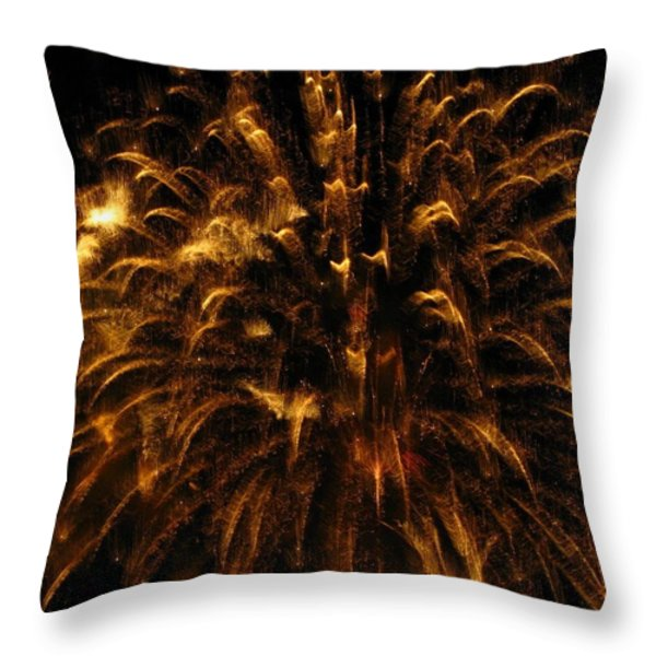 Brushed Gold Throw Pillow by Rhonda Barrett
