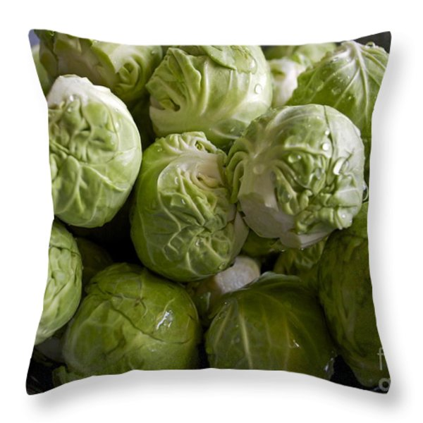 Brussel Sprouts Throw Pillow by Gwyn Newcombe