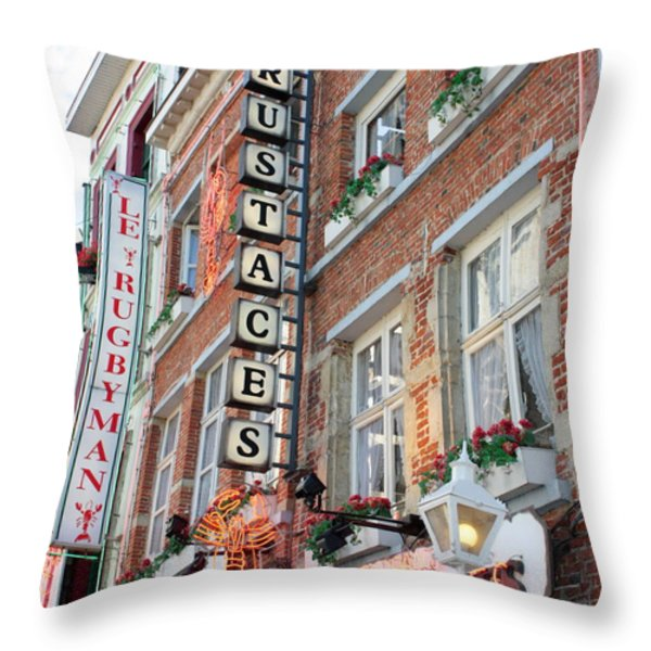 Brussels - Place Sainte Catherine Restaurants Throw Pillow by Carol Groenen