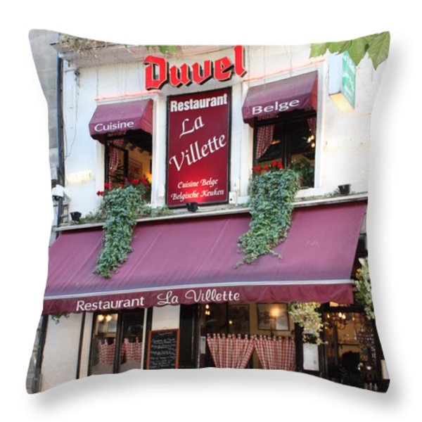 Brussels - Restaurant La Villette with Trees Throw Pillow by Carol Groenen